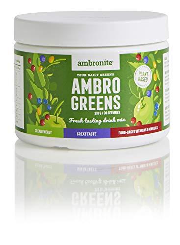 Ambronite AmbroGreens, Plant Based Ingredients, Clean Energy, 30 Servings per Jar