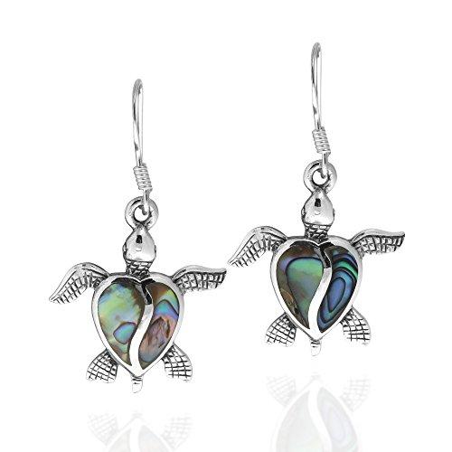 Love Life Sea Turtle Heart Abalone Shell .925 Sterling Silver Dangle Earrings
