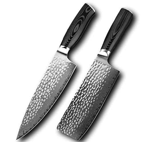 Cuchillo Damasco de 8 pulgadas Cuchillo de chef profesional 67 Capa Damasco Acero Cuchillo de cocina Cuchillo de carnicería Cuchillo de carnicería Hoja forjada Cuchillo multifunción (Color : 2 PCS)