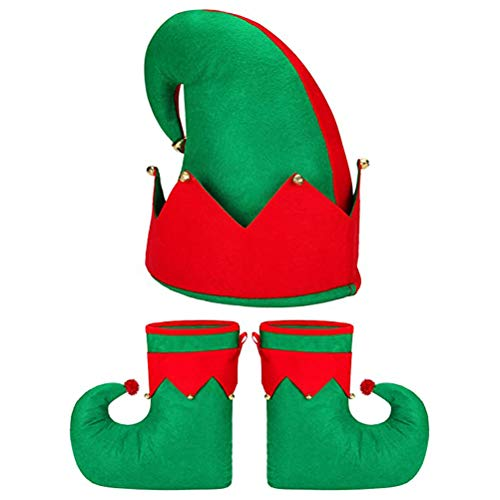 Asamio Christmas Costume Set, Elf Costume Elf Hat Elf Shoes Christmas Party Costume Accessories Xmas Party Fancy Dress for Adult