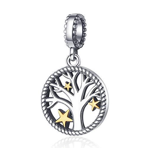 FeatherWish Family Heritage Anhänger Baum des Lebens mit goldenen Sternen 925 Sterling Silber Charm-Anhänger für Pandora-Armband oder -Halskette