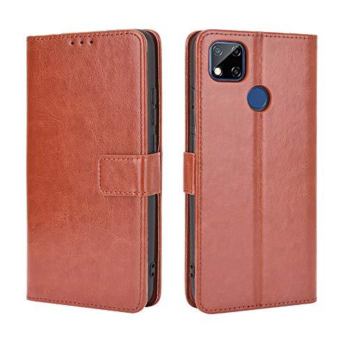 Lederhülle für Xiaomi Redmi 9C Hülle, Flip Hülle Schutzhülle Handy mit Kartenfach Stand & Magnet Funktion als Brieftasche, Tasche Cover Etui Handyhülle für Xiaomi Redmi 9C, Brown