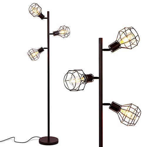 HMM77 Gunnia Led-vloerlamp, industriële moderne kooi-lampenkap, hoge verticale boomstang met 3 retro-ledlampen hedendaagse heldere lamp voor woonkamer, kantoor