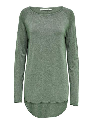 Only Onlmila Lacy L/s Long Pullover Knt Noos suéter, Verde (Chinois Green Detail: W. Melange), 40 (Talla del Fabricante: Medium) para Mujer