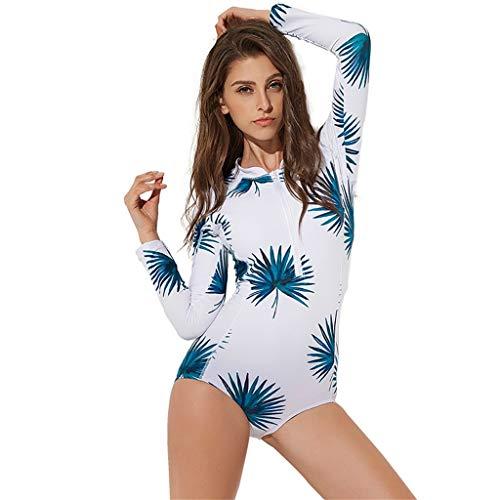 LOPILY Badebekleidung Damen Sommer Blumendruck Schnorchelanzug Schwimmanzug Strandmode Sonnencreme Schnelltrocknend Surfbekleidung mit Reißverschluss(X3-Mehrfarbig,M)