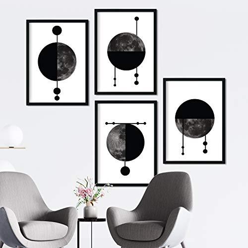 Nacnic Set de 4 láminas para enmarcar Cuatro Lunas Posters Estilo nórdico para la Tamaño A4. Láminas con imágenes de Lunas en Estilo escandinavo…