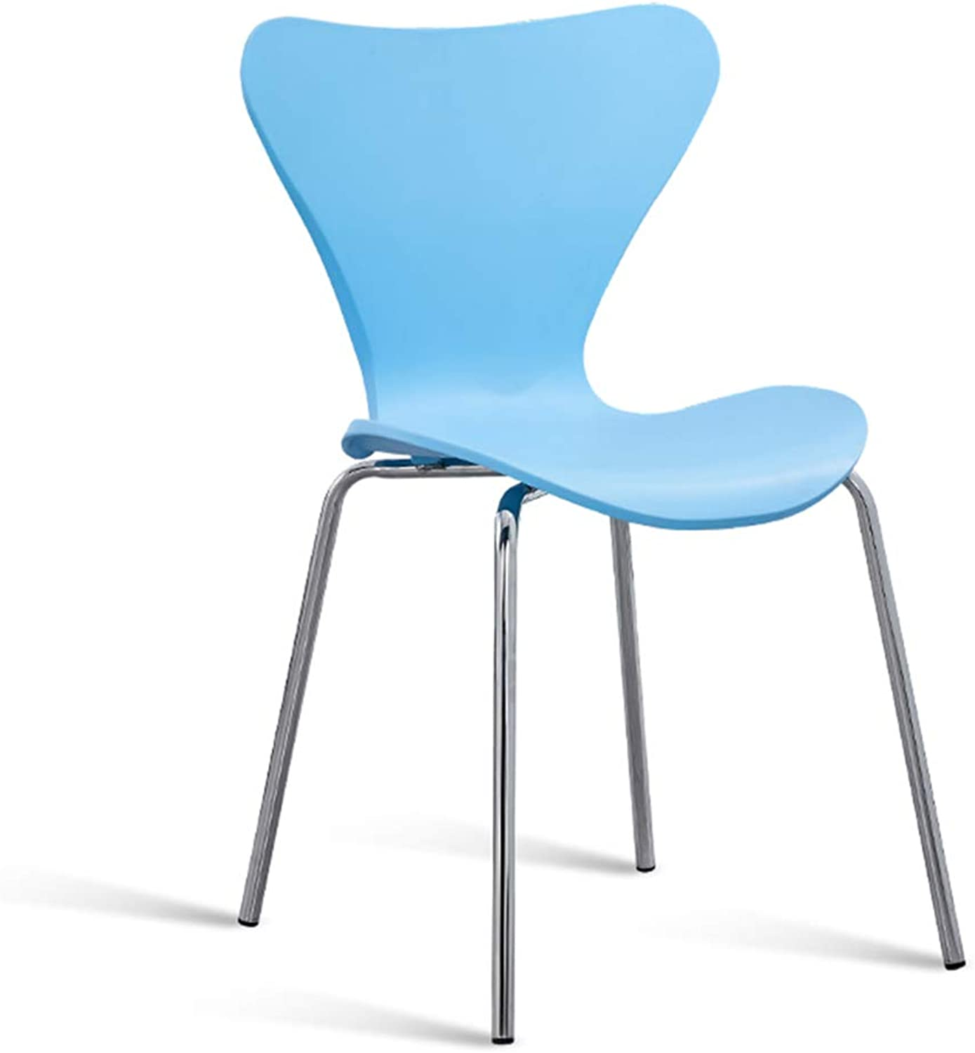 SYF Barstools Modern Minimalist Multi-Function Stainless Steel Ergonomic Design Assembly Curved Backrest Casual Bar Chair Bearing Weight 200kg A+ (color   bluee)