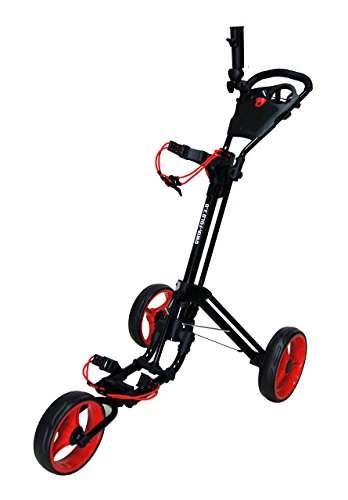Qwik-Fold 3 Wheel Push Pull Golf Cart, Patented Bullet System and Foot Brake, ONE Second to Open and Close! (Black/Red) (933-3.0-BLK/RED)