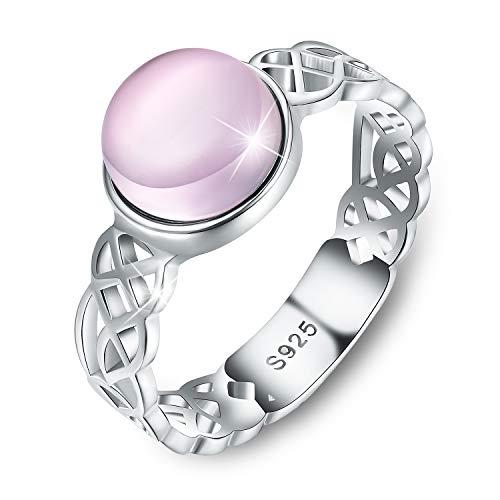 Anillos con nudo celta de plata de ley 925 chapados en oro de 18 quilates, anillos cruzados con piedra natural de labradorita o cuarzo rosa, para mujeres y niñas, de Esberry Plateado