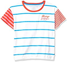 Tommy Hilfiger Kids Girls' Short Sleeve Fashion Top, Stripe Crop White, Small (7)