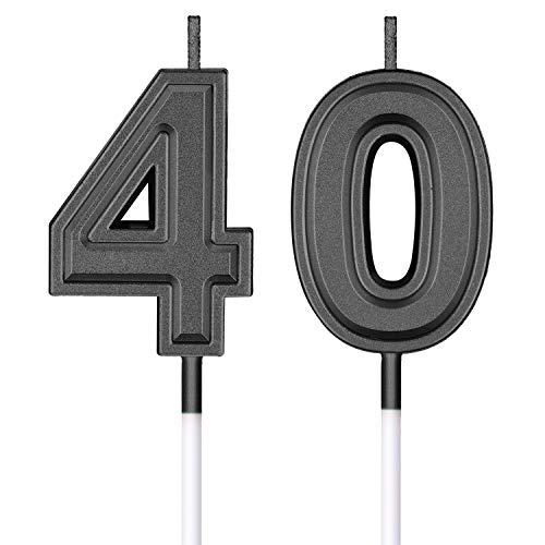 Velas de Cumpleaños 40 Velas de Numeros de Pastel Topper Decoración de Pastel de Feliz Cumpleaños para Cumpleaños Boda Aniversario Celebración (Negro)