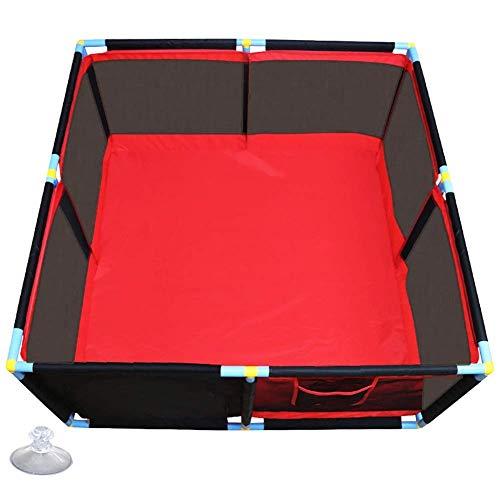 LXDDP Parc d'enfants Rouge Safety Kids, Stylo Jeu séparateur Chambre carré pour bébé, Jeu Anti-Collision pour clôture, 128 × 128 × 66 cm (Couleur: Aucune Balle)
