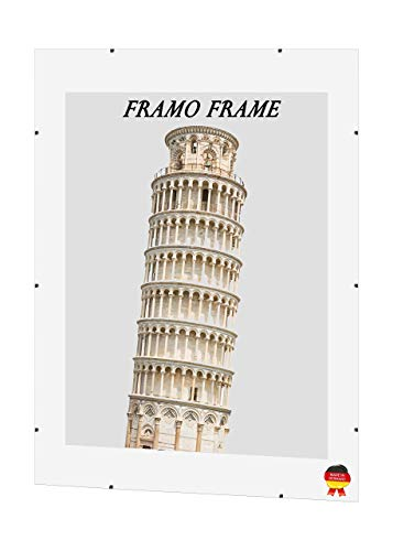 Framo 'Free' Cliprahmen Bilderrahmen Rahmenlos 50 x 65 cm mit MDF Rückwand und Anti-Reflex Kunstglasscheibe, maßgefertigter Rahmen ohne Rand im Wunschmaß für z.B. Fotos, Bilder, Poster oder Puzzles