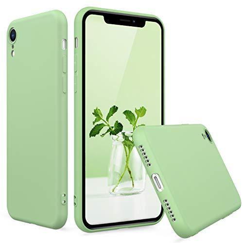 Peakally Cover per iPhone XR in TPU Nero Opaco, Morbido TPU Custodia Cover Slim Anti Scivolo-Verde