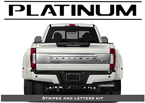 BDTrims Tailgate Raised Letters and Stripes Compatible with 2017-2020 Platinum F-250/350/450/550 Models (Black)