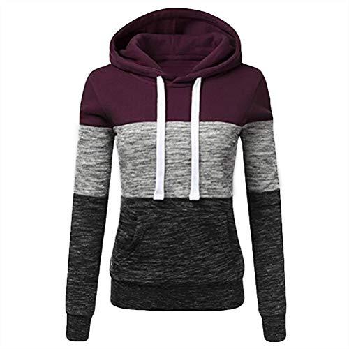 yssgtt Vrouwen Streep Patchwork Hooded Sweatshirt Lange mouwen Rits Casual Top Pullover