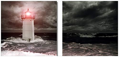 Wallario 2er Set Acrylglasbild Leuchtturm im Wasser bei stürmischer See - 2 x 50 x 50 cm in Premium-Qualität: Brillante Farben, freischwebende Optik