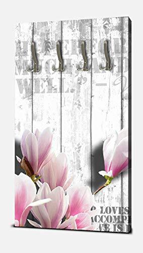 wandmotiv24 Garderobe Holz rosa Blüten Hochformat - 55x100 (BxH) - Leinwand Wandgarderobe, inklusive Garderoben-Haken, Kleiderhaken, Set M0540