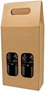 DISOK Lote de 25 Cajas de Cartón con Ventana para 2 Botellas. Estuches de Vino Caja Vino para Bodas, Bautizo, comuniones. No Incluye Botellas.
