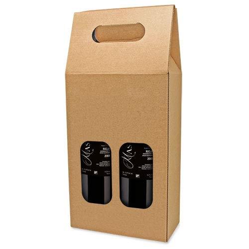 DISOK Lote de 25 Cajas de Cartón con Ventana para 2 Botellas....