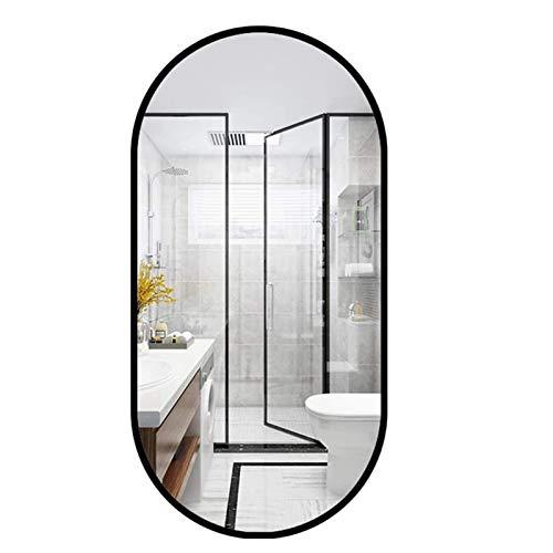 Cuarto de baño Espejo de pared de la decoración, creativo nórdica Marco oval colgar de la pared de maquillaje Espejo de baño sala de estar bar café Puerta de entrada de espejo,Negro,50 x 80cm