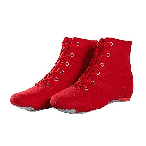 Rot red Jazz Dance Stiefel Schnürschuhe aus Segeltuch mit hohem Schaft und geteilter Ledersohle für Mädchen, Kinder, Frauen, Männer (33 EU)