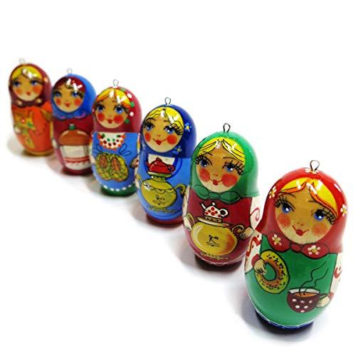 Hospitality Christmas Wooden Russian Babushka Ornament Set (Pack of 6)
