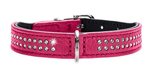 HUNTER DIAMOND PETIT Halsband für kleine Hunde, Leder, mit Strasssteinchen, 27 (XXS-XS), pink/schwarz