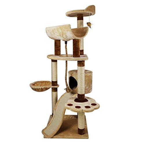ZHNA- Katzenkratzbaum Katzenbaum mit mehreren Ebenen und Sisal-Kratzbaum, Leitern, Sisalseil, baumelnde Mäuse, Spielzeug, 150 cm