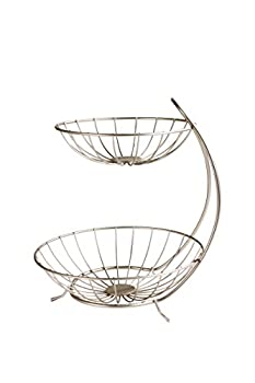 Spectrum Diversified Yumi Arched Server Stacked 2-Tier Bowls Dining Table & Kitchen Counter Organizer Modern Fruit Basket Stand Satin Nickel