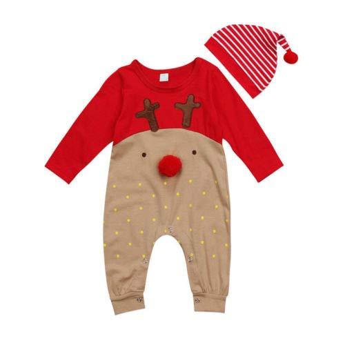 Geagodelia - Pelele con capucha para bebé, unisex, diseño de reno, dibujos animados, manga larga de 0 a 3 meses rojo 0-6 meses