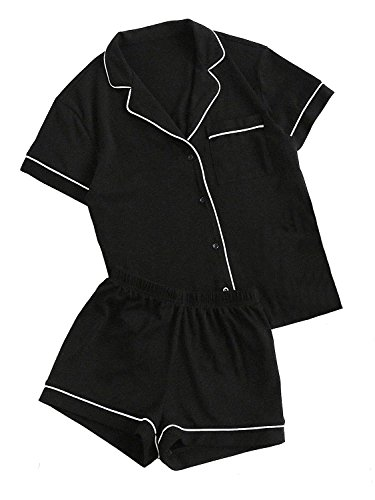 Floerns Women's Notch Collar Short Sleeve Sleepwear Two Piece Pajama Set A Black M
