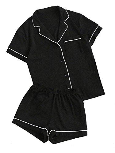 Floerns Women's Notch Collar Short Sleeve Sleepwear Two Piece Pajama Set Black M