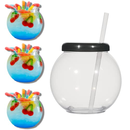 TIPSY UMBRELLA Clear Plastic Fish Bowls For Drinks With Lids and Straws - Fish Bowl Drink Cups (4pack) 20oz