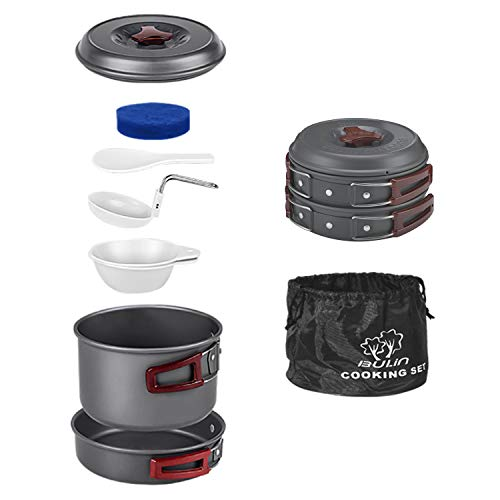 Bulin 8 PCS Camp Cookware Set Camping Cookwear Lightweight Stainless Steel Cookware Set Backpacking Cooking Set Mess Kit for Camping Family Hiking Camping Pots and Pans Set