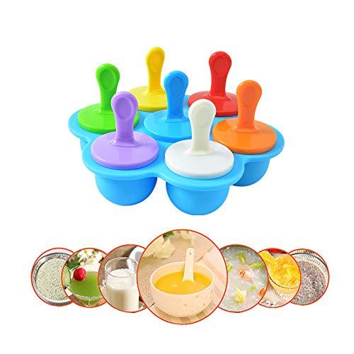 PECHTY Eisformen, 7 Mulden Mini Silikon Popsicle Form, Wiederverwendbare Silikon Eisform DIY Förmchen zum Einfrieren von Obst oder Joghurt Ice Pop Form für Kinder, Baby (Blau)