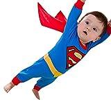 SCLYX ハロウィンコスチューム キッズコスチューム ベビー 赤ちゃん 男の子 80cm 90cm かわいい スーパーマンロンパース マント取り外し可 スーパーマンコスプレ スーパーマンコスチューム スーパーマン衣装 スーパーマン服 寝相アートコスチューム 寝相アート衣装 記念写真撮影 スーパーヒーローココスプレ キッズ 子供 男の子#20532 (スーパーマン, 身長80cm)