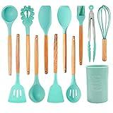 DishyKooker 12pcs / Set Utensilios de Cocina de Silicona con Mango de Madera de Estilo nórdico con Barril de Almacenamiento Productos para el hogar