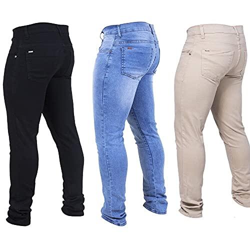Kit 3 Calças Jeans Masculina Skinny Moderna Preta/Clara/Palha