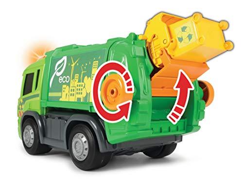 Dickie Toys Happy Garbage Truck, motorisiertes Müllauto, Scania, Licht & Sound, Freilauf, Heben und Senken von Container und Mülltonne, inkl. Batterien, für Kinder ab 2 Jahren, 25 cm, grün