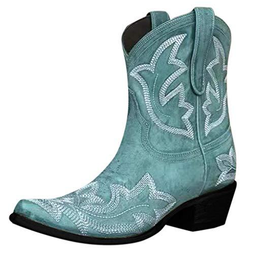 Lenfesh Cowboystiefel Damen Western Boots Mode Slip-On Leder Round Toe Schuhe mit niedrigen Absätzen Cowboy Knight Boots