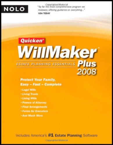 Quicken Willmaker Plus 2008 Edition: Estate Planning Essentials (Book with CD-ROM)
