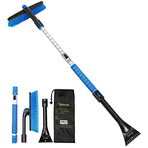 AstroAI 47.2' Ice Scraper and Extendable Snow Brush for Car Windshield and Foam Grip with 360° Pivoting Brush Head for Christmas Car Auto Truck SUV(Blue)