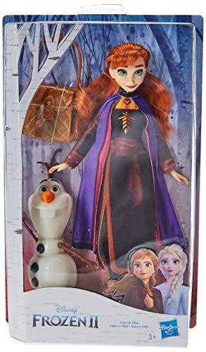 Hasbro E6661ES0 Die Eiskönigin Anna Puppe mit Olaf und Tasche, inspiriert durch den Film Die Eiskönigin 2