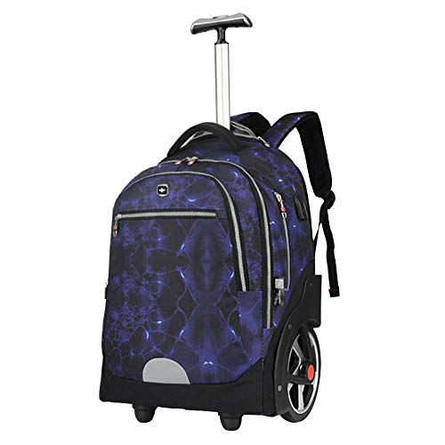 Adlereyire Trolley Bag 36 Liters,Lightweight and Waterproof Roller Bag Holdall with Wheels Functional Cabin Luggage Bag for Laptops up to 19' (Color : Blue, Size : 19-inches)