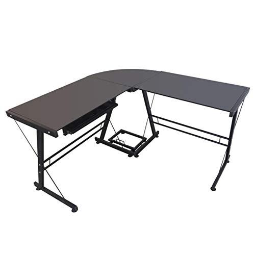 Miaow house Mesa de estudio de escritorio de estalinita duradera en forma de L, fácil de montar, se puede utilizar en el hogar y la oficina, color negro