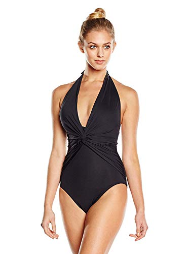 Michael Michael Kors Women's One Piece Plunge Halter Swimsuit Black 6