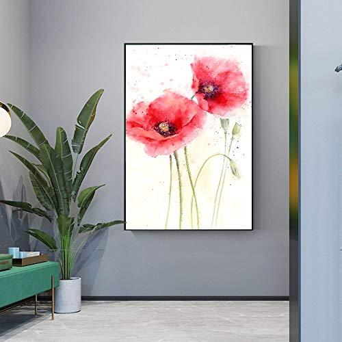 Mohn Leinwand Kunst Wandmalerei rote Blumen abstrakte Pop-Art Poster und Drucke Bild Wohnzimmer rahmenlose Malerei 30x45cm