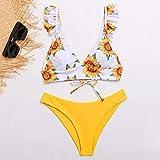 Wzdszuil Trajes de baño for Mujeres, señoras de Empuje hacia Arriba del Bikini Bikinis Set Solid bajo Atractivo de la Cintura del triángulo Traje de baño Halter Ropa de Playa Ropa de Playa