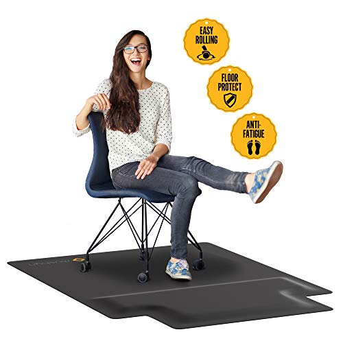 Office Chair Mat with Anti Fatigue Cushioned Foam - Chair Mat for Harwood Floor with Foot Rest Under Desk - 2 in 1 Chairmat Standing Desk Anti-Fatigue...